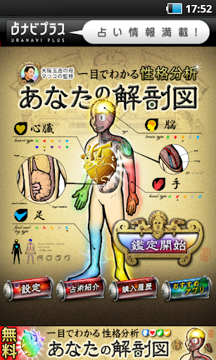 性格分析【人間版】あなたの解剖図 姓名判断 無料占い 有り