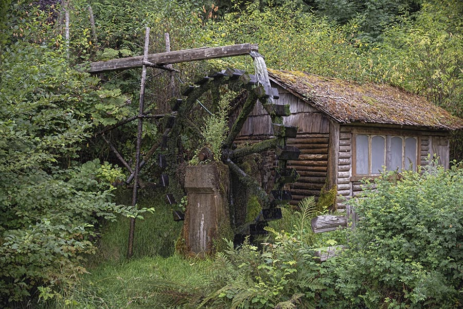 Old Water Wheel by Wade Grassedonio - Buildings & Architecture Decaying & Abandoned ( mill, cabin, nature, water wheel, landscape )