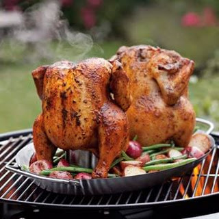 Grill-Roasted Chicken with Potatoes & Green Beans