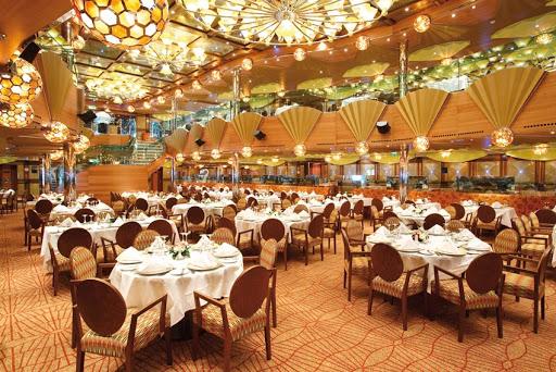 The Taurus restaurant, Costa Luminosa's main dining room.