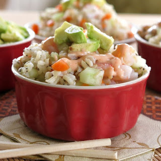 Shrimp Sushi Roll Salad with Spicy Dressing.