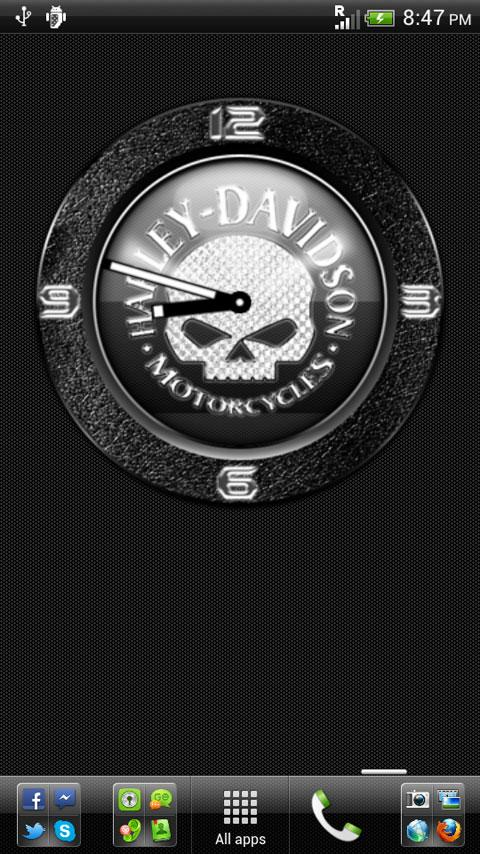 H-D Skull Clock Widget - screenshot