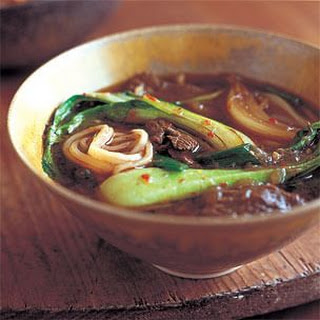 Baby Bok Choy and Beef Noodle Soup with Warm Spices.