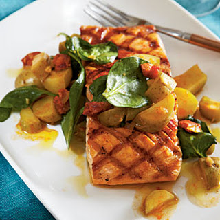 Grilled Salmon with Chorizo and Fingerlings.