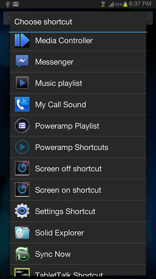 Poweramp Media Shortcuts- screenshot