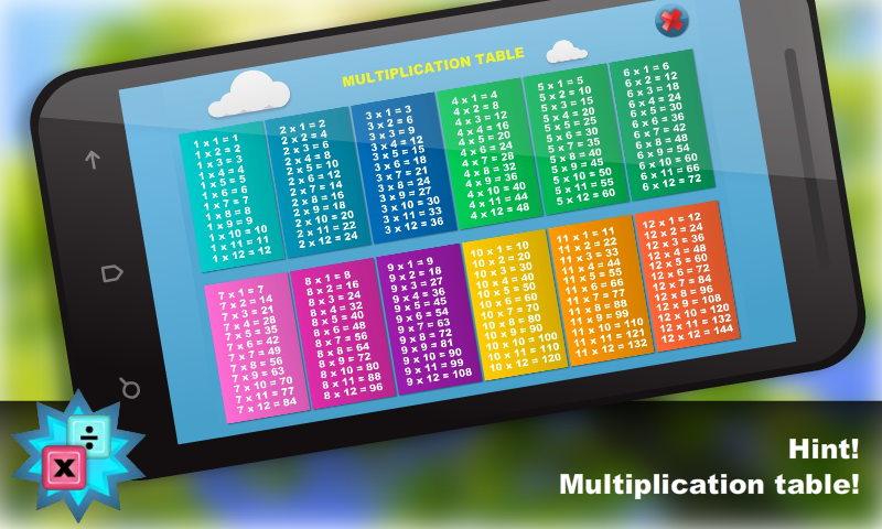 Math - Multiplication table - screenshot