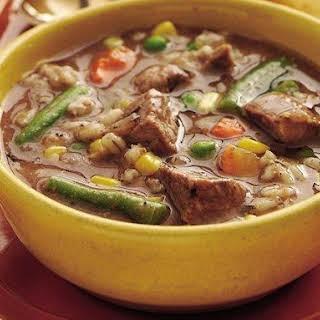 Slow-Cooker Beefy Vegetable-Barley Soup.