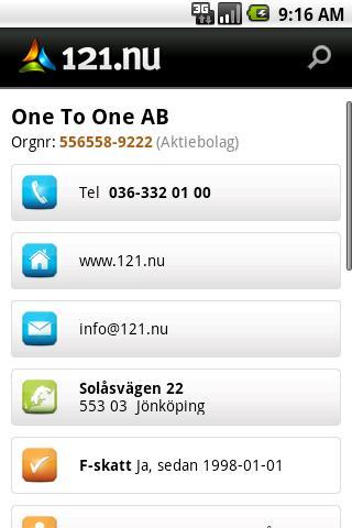 121.nu Företagssök - screenshot