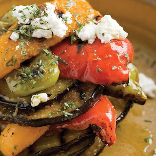 Eggplant and Peppers with Feta.
