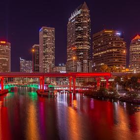 Tampa Reflections by Lynn Wiezycki - City,  Street & Park  Skylines ( skyline, color, tampa, reflections, night, river )