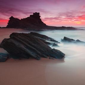 Lonely Rocks by João Freire - Landscapes Sunsets & Sunrises ( water, clouds, lonely rocks, sunset, alentejo, beach, samoqueira beach, landscape, portugal, porto-côvo,  )