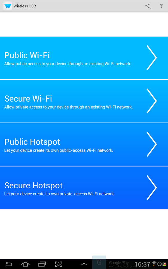 Wireless USB and Tethering- screenshot