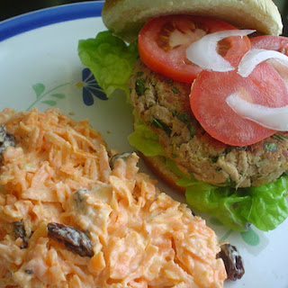 Tuna Burgers with Carrot and Raisin Salad.