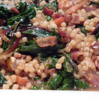 Swiss Chard Bacon Saute with Pasta (Italy For Almost Free).