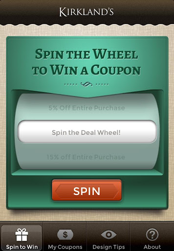 Kirkland's Spin to Win Screenshot