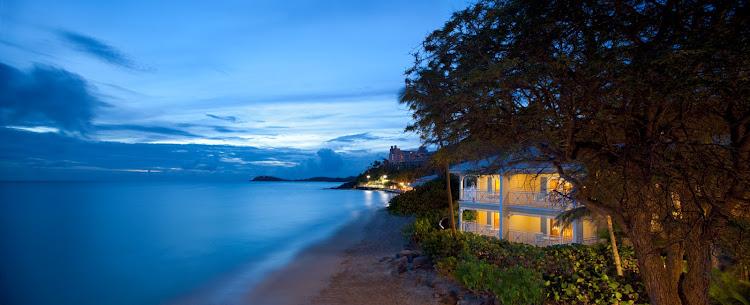 Twilight at the Morning Star Resort on St. Thomas, US Virgin Islands.