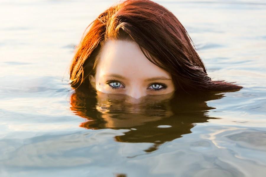 Emerge by Quisha McElroy - People Portraits of Women ( water, face, emerged, model, beautiful, art, beach, eyes, sexy, girl, artistic, blue eyes, brunette, deep )