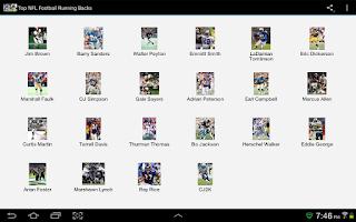 Screenshot of Top NFL Football Running Backs