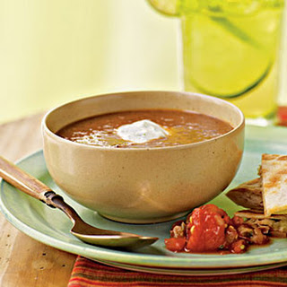 Black Bean-Tomato Soup with Cilantro-Lime Cream
