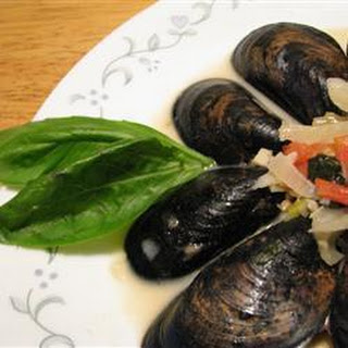 Mussels with Fennel, Tomatoes, Ouzo and Cream.
