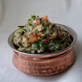 Indian Inspired Eggplant & Tomato Dip.