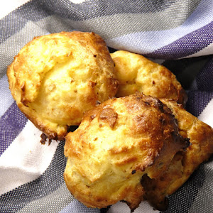 Gougeres with Tomme Sheep Cheese, Dried Figs, and Hazelnuts