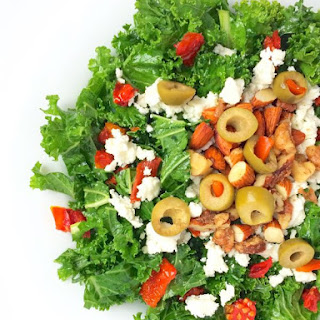Kale Salad with Green Olives, Toasted Nuts and Feta Cheese