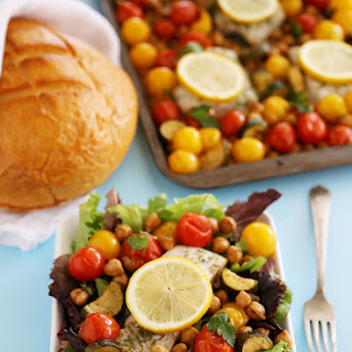 Greek Lemon Baked Fish with Tomatoes, Zucchini and Chickpeas