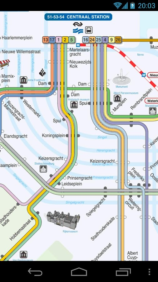 Amsterdam Metro and Tram Map - screenshot