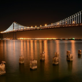 Under the moon light by Hany Todros - Landscapes Waterscapes ( moon, bay, bridge, light, usa, hanytodros )