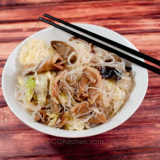 Rice-Stick Noodles With Exotic Mushrooms.