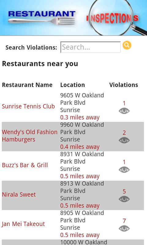 Restaurant Inspections - FL- screenshot