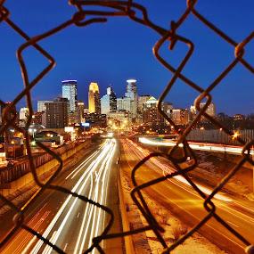 Caged City by Dave Knapp - City,  Street & Park  Night ( minneapolis skyline night light trails,  )