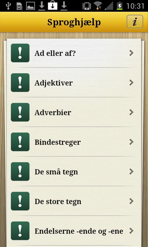 Sproghjælp- screenshot