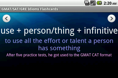 GMAT/SAT/GRE Idioms (with Ads) - screenshot