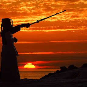 Kendo at Sunset by Kazuki Nakamura - Sports & Fitness Other Sports ( laguna beach, sunset, kendo, ocean, beach, martial arts,  )