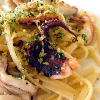 Linguini with Grilled Baby Octopus and Herbed Bread Crumbs.