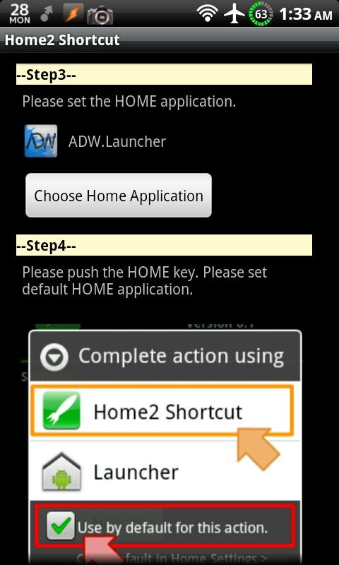 Home2 Shortcut: captura de pantalla