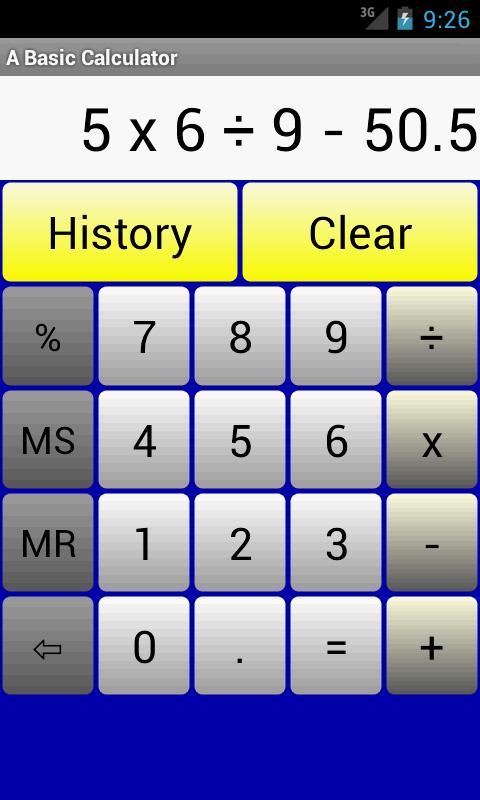 A Basic Calculator - screenshot