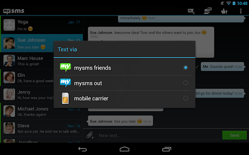 mysms - Dark Theme for Tablet - screenshot thumbnail