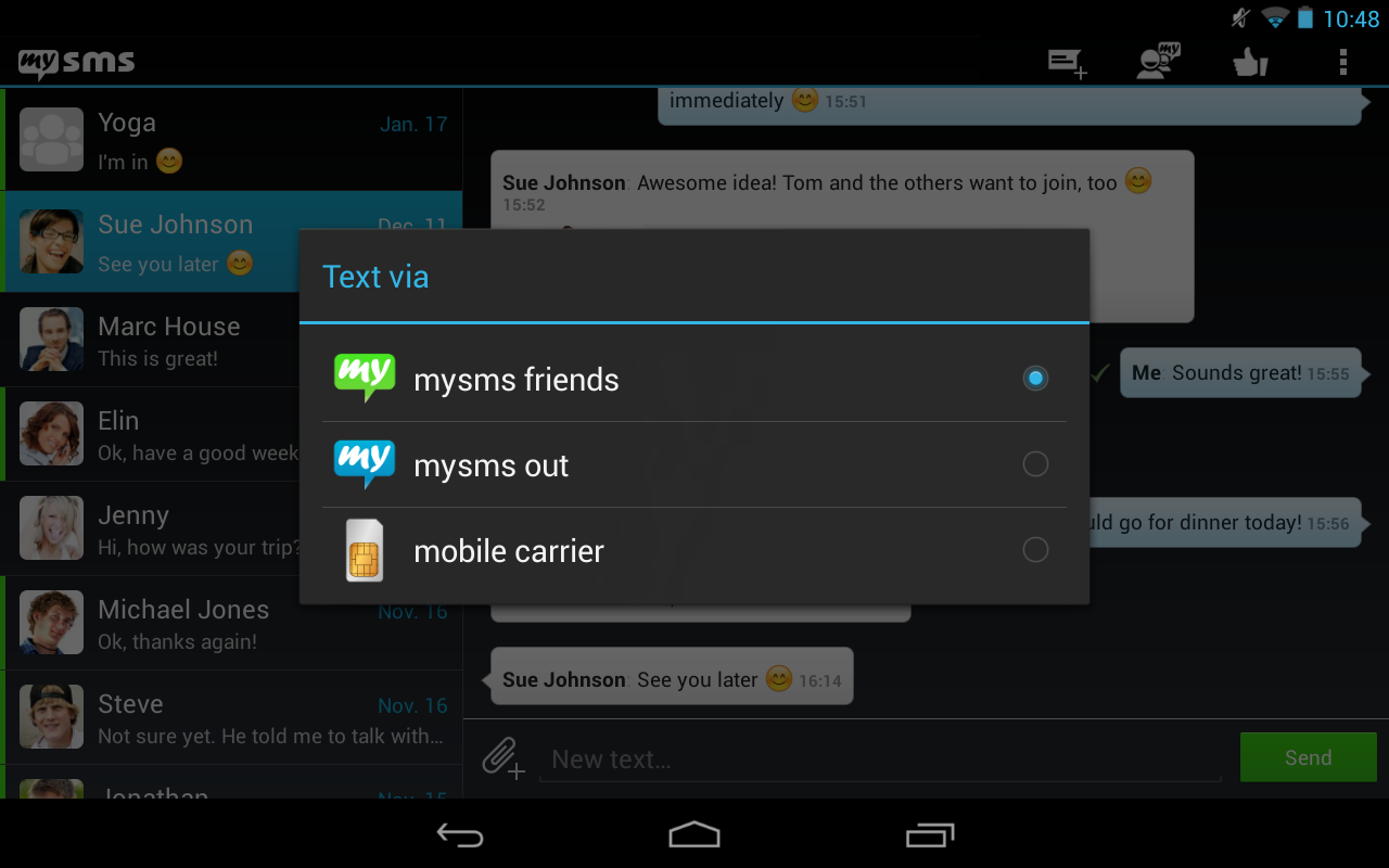 mysms - Dark Theme for Tablet - screenshot