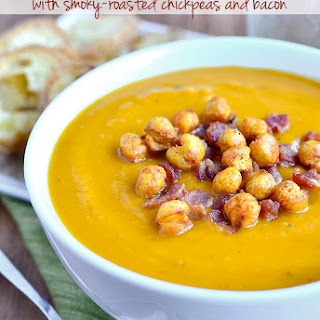 Roasted Butternut Squash Soup with Smoky-Roasted Chickpeas and Bacon.