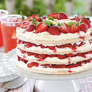 Fresh Strawberry Meringue Cake.