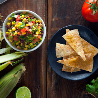 Black Bean & Corn Salsa with Cheesy Baked Tortilla Chips (Vegan & Gluten-Free)