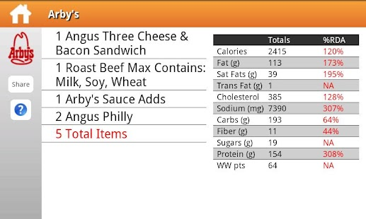 Fast Food Nutrition - screenshot thumbnail
