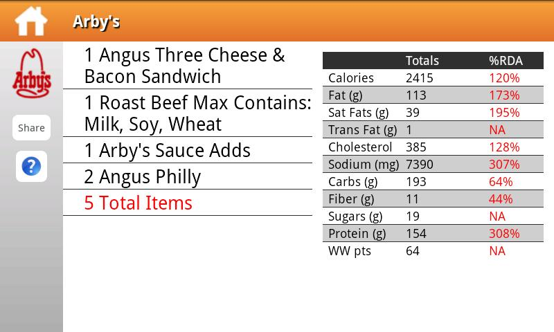 Fast Food Nutrition - screenshot