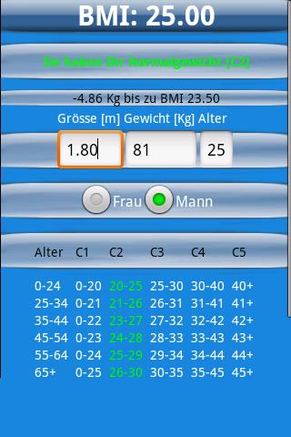 BMI Rechner - screenshot