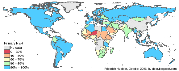 Map of the world with primary school net enrollment rates in 2004