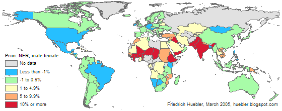 Map of the world showing male-female disparity in primary school net enrollment rate for each country