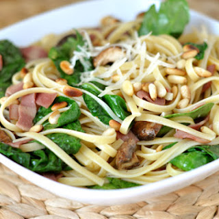 Linguine with Bacon and Spinach.